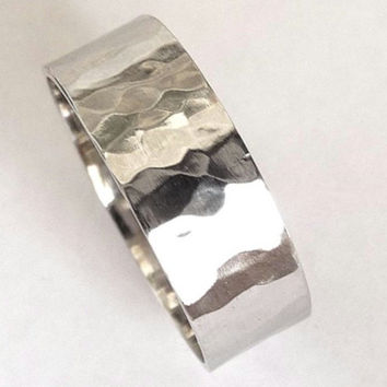 Silver Hand Hammered 8mm wide Wedding Ring Woman Men Stainless Steel - Saint Michaels Jewelry