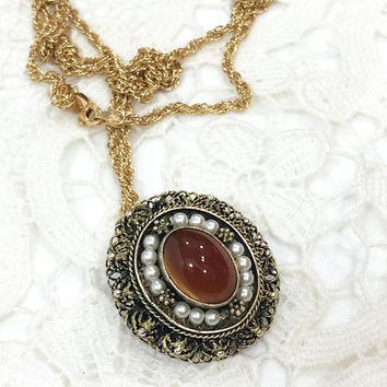 Sterling Filigree Pendant Necklace, Oval Pendant, Vermeil Carnelian Seed Pearls, Oxidized Silver, Gold Rope Chain, Vintage Israeli Jewelry