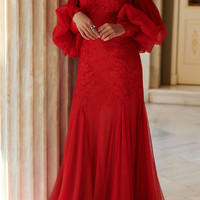 Off The Shoulder Tulle Lace Gown   Moda Operandi
