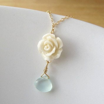 Morning Glory Rose Necklace - Vintage Inspired Delicate - elegant everyday by Yameyu