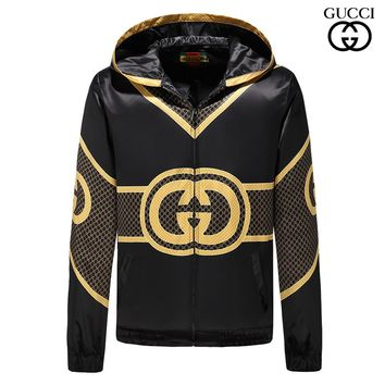 GUCCI 2018 autumn and winter new double G trend men's high-end fashion sports hooded jacket