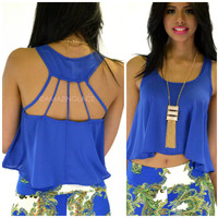 SZ LARGE Cliffside Royal Blue Open Back Crop Top