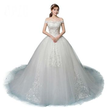 Wedding Dress Custom Made Royal Train Embroidery Appliqued Lace Short Sleeve Off the shoulder