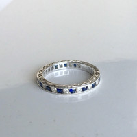 1.20ct Art Deco Platinum Sapphire & Diamond Eternity Wedding Ring stack rings DIAMOND SOLAR