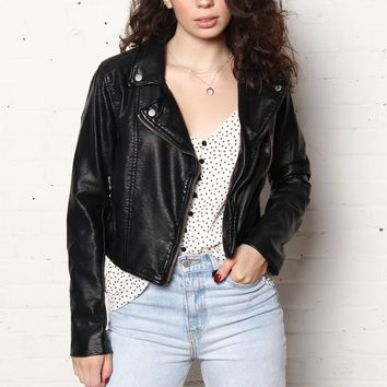Free People Heartache Vegan Leather Moto Jacket - Black