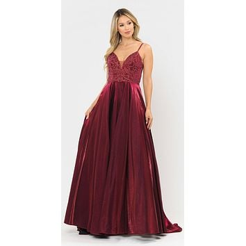 Beaded Long Prom Dress with Pockets Burgundy