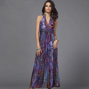 Plus size colorful fashion print Bohemian women maxi dress 2018 summer elegant beachwear tunic party Floor-Length halter robe