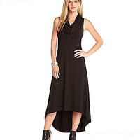 Karen Kane Katie Cowl-Neck Hi-Lo Maxi Dress - Black