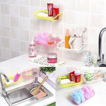 Wall Sucker Plastic Strong Suction Shower Basket Dual Sucker Bathroom Shelf Washing Room/Kitchen Corner Basket Wall Mounted Rack