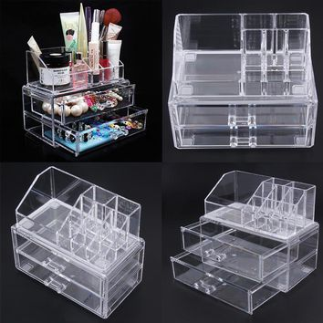 Portable Acrylic Transparent Makeup Organizer Storage Box