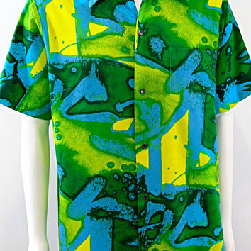 Holo-Holo Hawaii Abstract Shirt Vintage Wearable Art Loud Mod Loop Collar Aloha Hawaiian Shirt  Sz Large