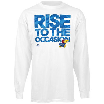 adidas Kansas Jayhawks March Madness On Court Long Sleeve T-Shirt - White