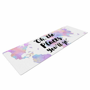 "Kess Original ""The Places You'll Go "" Purple Yellow Yoga Mat"