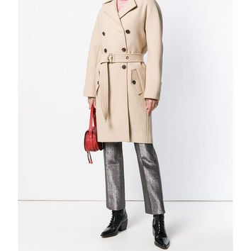Chloé Belted Double Breast Coat - Neutral Long Sleeve Coat