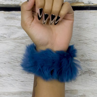 Blue Furry  Hair Tie