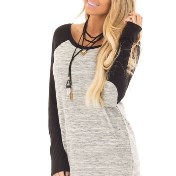 Heather Grey Tunic with Black Contrast and Elbow Patches