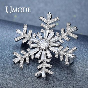 UMODE Snowflake Brooch For Women Bridal Wedding Collar Large Crystal Rhinestone Flower Brooch Fashion Jewelry Metal Pins AUX0004