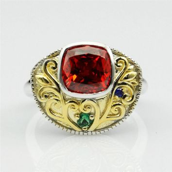 Cushion Cut 2.5ct Ruby Gemstone Simulant Art Deco Vintage Style Two Tone Gold Plated Engagement Ring (CFR0630)