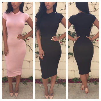 Round Neck Cap Sleeve Bodycon Midi Dress