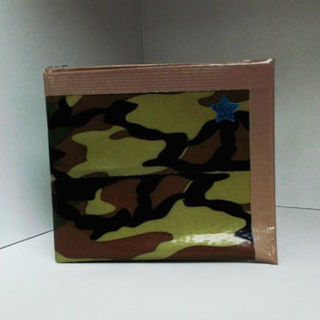 Camo Duct Tape Wallet  - unique, gift for kids, stocking stuffer, men, boyfriend, military, camouflage