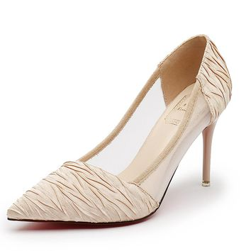 2018 fashion design high heels shoes women's pumps spring new Ladies Wedding Party Shoes Thin Heel sexy Net yarn single Shoes
