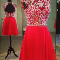 Beaded Capped Mini Red Chiffon Homecoming Dress