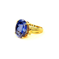 Gold Sapphire Solitaire Statement Ring