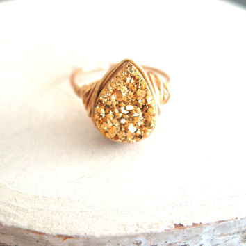 Gold Druzy Ring 24K Drusy Ring Cocktail Ring teardrop ring Statement Ring Gift for her Under 60