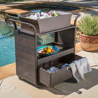 Outdoor Wicker Bar Cart Beverage Furniture Rolling Multi Island Table Christopher Knight