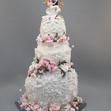 Dazzling Three Tier Wedding Cake Topper made From Rhea, Goose and Duck Eggs