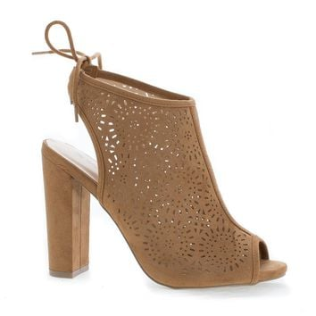 Morris25 Chestnut By Wild Diva, Peep Toe Laser Perforated Heeled Mule Sandals