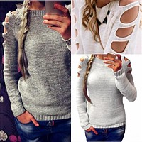 Warm Hollow Out Sweaters Loose Casual