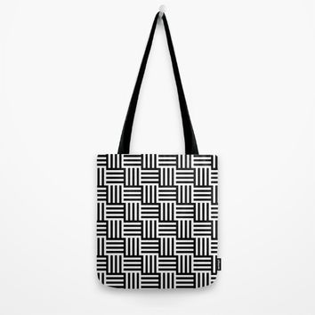 Black And White Basket Weave Tote Bag by J&C Creations