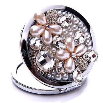 Diamond Pearl Flower foldable handbag pocket double sides cosmetic makeup mirror