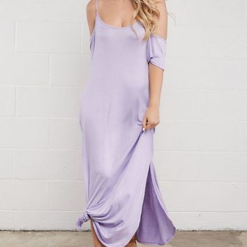 Dewey Cold Shoulder Maxi Dress - Lilac