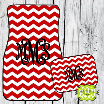 Car Mats Chevron Personalized Monogrammed Floor Car Mat Initial Red Black