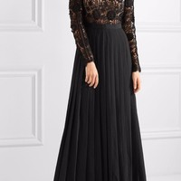 Black Lace And Crepe Maxi Dress