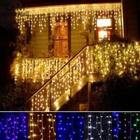 String lights Christmas outdoor decoration 3.5m Droop 0.3-0.5m curtain icicle string led lights Garden Xmas  Party 110V 220V