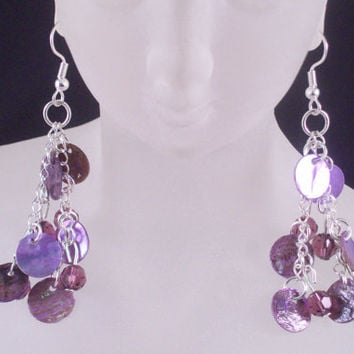Purple Shell Drops and Swarovski Crystal Short Chain Earrings