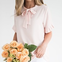 Blush Bow and Pleat Top - JessaKae