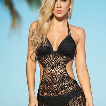 Black Crochet Beach Cover Up-Resort-Swimwear