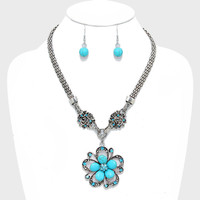 Floral Turquoise Stone Drop Necklace