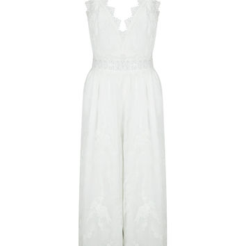 White V-neck Spaghetti Strap Lace Jumpsuit