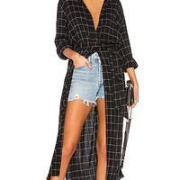 Sanctuary Jess Maxi Shirt in Window Pane