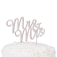 Mr & Mrs Cursive Cake Topper - Rose Gold