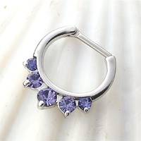 SEPTUM CLICKER Nose Ring, PALE Purple opalite stones, steel bar, 16 gauge, nose ring, body piercing