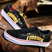 Trendsetter VANS X Thrasher Slip-On Canvas Old Skool  Flats Shoes Sneakers Sport Shoes
