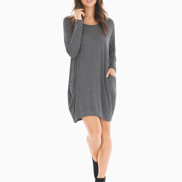 Soma Long Sleeve Short Dress Charcoal
