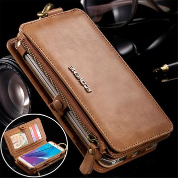 Leather Wallet Case for Samsung Galaxy Note 3 4 5 S7 Edge Vintage Business Multifunction 2 in 1 Phone Case for iphone 7 6S Plus