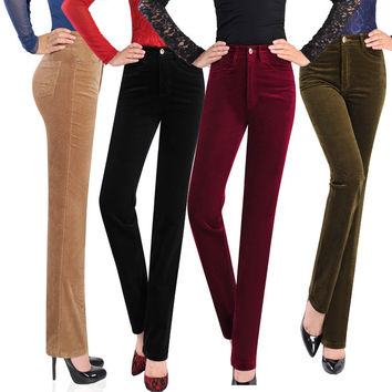 Women Corduroy Pants 2016 New Fahion High Waist Straight Trousers  For Women Female Autumn Winter Warm Corduroy Pants Plus Size